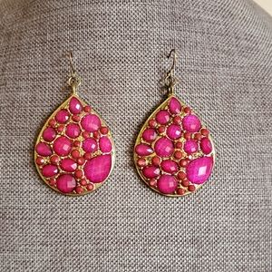 Gold drop earrings with pink gem stones